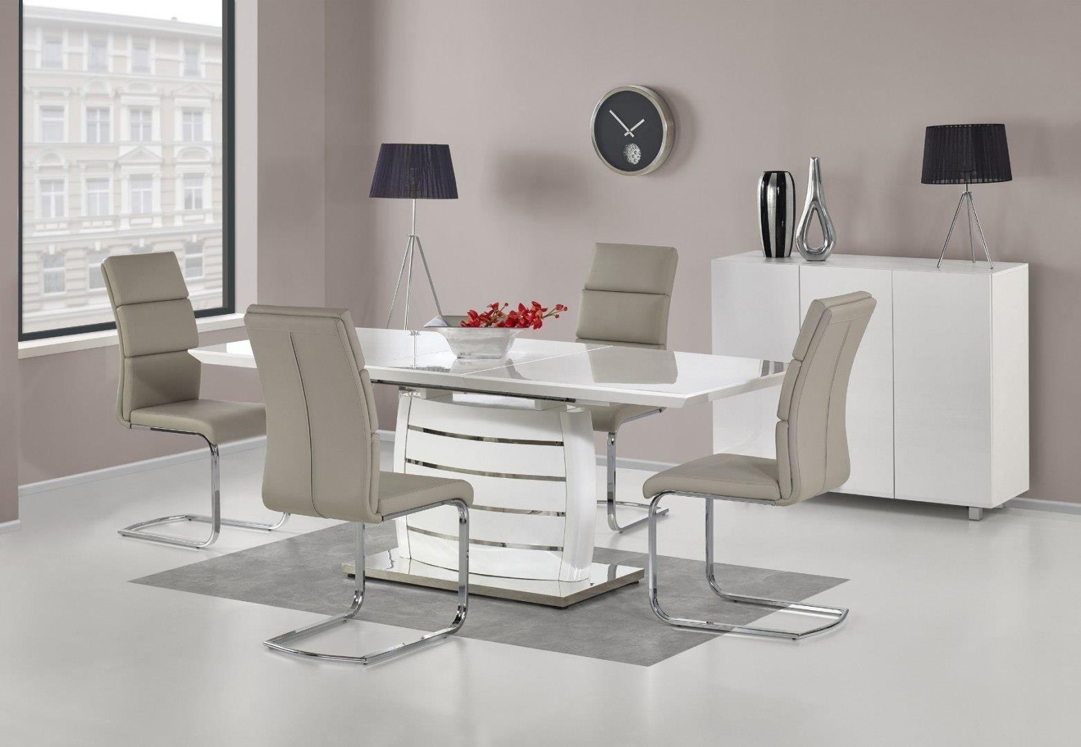 Ausziehbarer Esstisch 160 200 cm ONYX weiß